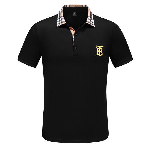 Verano tendencia de la moda de los hombres de negocios del algodón del polo de manga corta de la solapa de la camiseta de los hombres de lujo al aire libre de Polos Shirts38