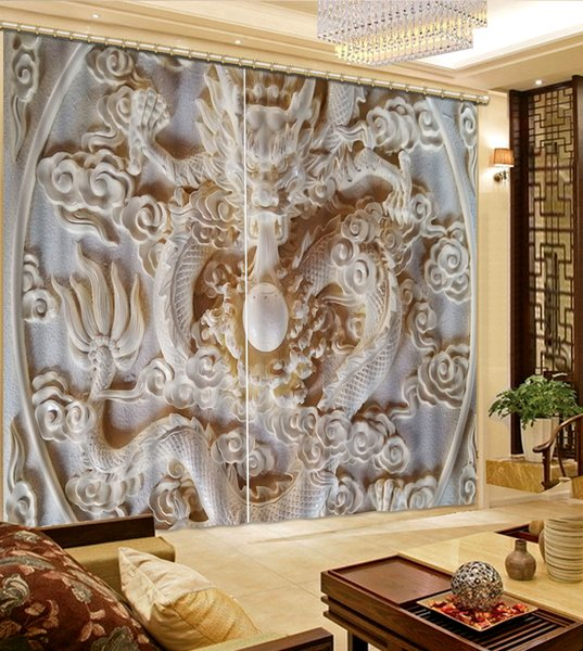 2Pcs/Set Carving double flowers window curtain for living room bedroom blackout curtains