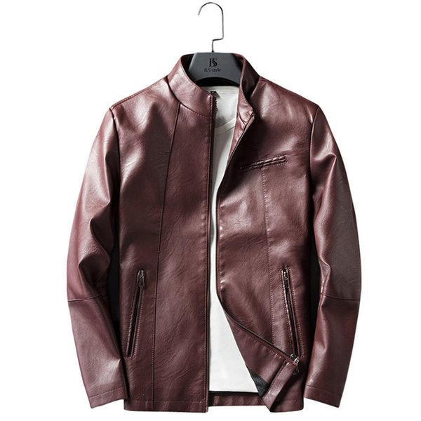 Mens Mandarin Collar Leather Jackets and Coats Male Slim Fit Motorcycle Biker Faux Leather Jacket Men Casual Pu Outerwear