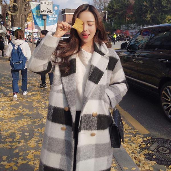 Autunno Inverno Nuovo cachemire del rivestimento della trincea casuale delle donne Nero Bianco Plaid Spessore cappotto del tasto caldo Pocket Giacche