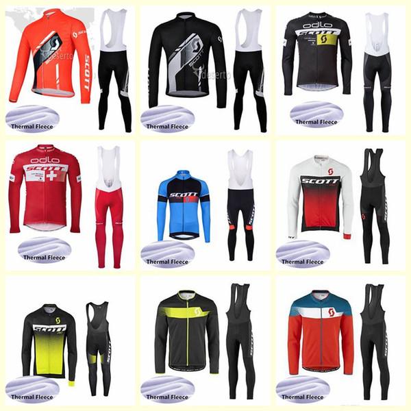 Скотт команда Велоспорт зимний тепловой флис Джерси нагрудник брюки наборы новый горный велосипед одежда гонки спортивная одежда Ropa Ciclismo U81528
