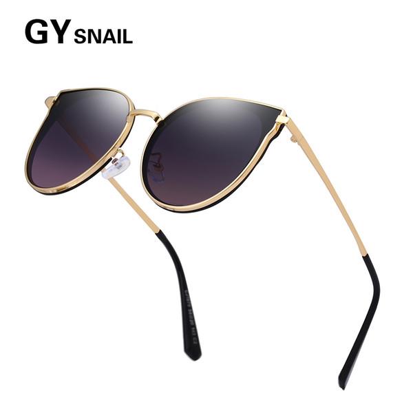 GYsnai 2019 Big Frame Cat eye Sunglasses Women Men Designer Brand Luxury Metal Polarized Sun glasses For Female Women's Mirror