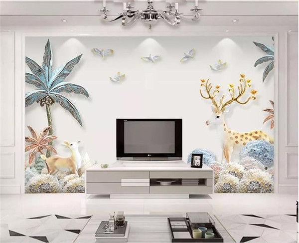tamaño personalizado 3d fotografía de fondo sala de estar cuarto de la cama relieve mural árbol alces cuadro 3d sofá TV telón de fondo pintado no tejida etiqueta de la pared