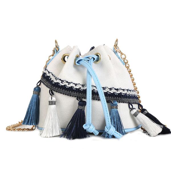 Charismatic2019 New Woman Pattern Korean Tassels Canvas Bag Fashion Port Feng Shui Barrel Chain Single Shoulder Messenger Packet