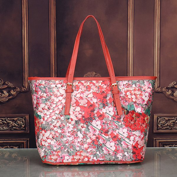 Designer-flower Blooms women tote bag Geranium printing shopper bag pu leather handbags female business laptop bags