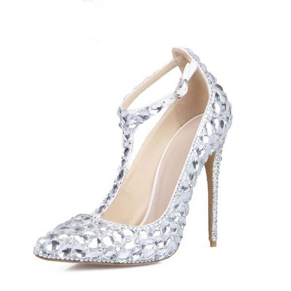 get online classic fit new products Silver Rhinestone Cinderella Prom Shoes 4 Inches High Heel Wedding Party  Shoes Pointed Toe Women Dancing Party Heels Size 40 Cute Shoes Green Shoes  ...