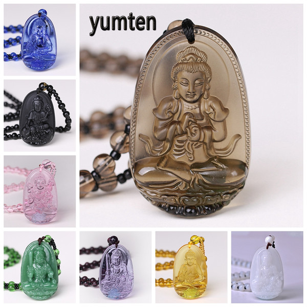 Yumten Buddha Necklace Natural Crystal Pendant Stone Carved Lucky Accessories Sweater Chain Blessing Reiki Gem Guardian Gifts
