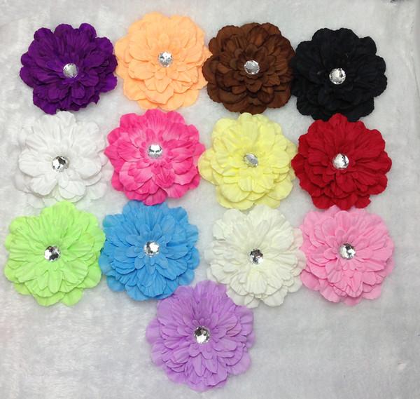 "10pcs girl 4"" peony flower hair clip baby beautiful flowers barrettes for girl headbands headwear hair accessories"