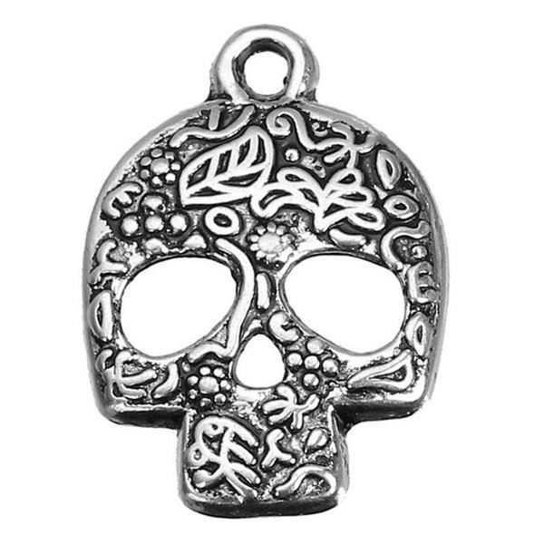 Sugar Skull Charms Pendant Gothic Vintage Silver Mask For Men Women Jewelry Making Bracelet Halloween Handmade Accessories DIY Gifts