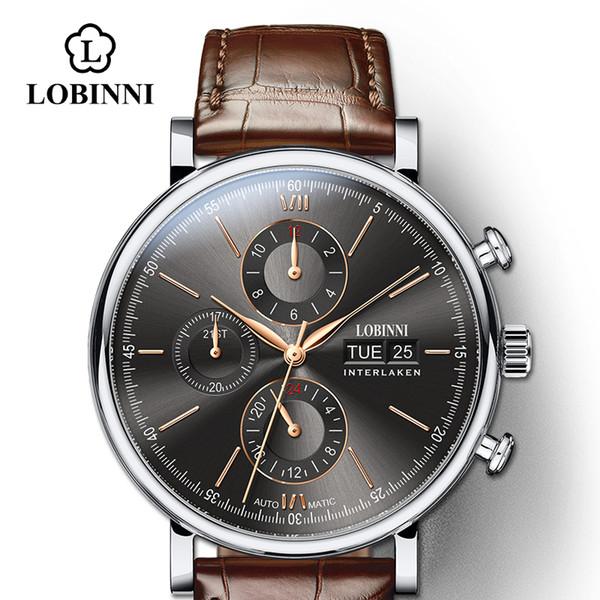 LOBINNI Luxury Mechanical Gear Watch Men gift Japan Movement Automatic black self winder Sapphire Watch Brand Men Metal