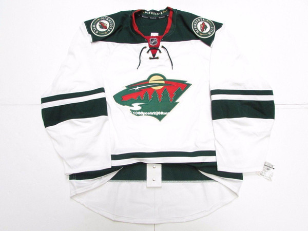 Cheap custom MINNESOTA WILD AWAY TEAM ISSUED JERSEY stitch add any number any name Mens Hockey Jersey XS-6XL