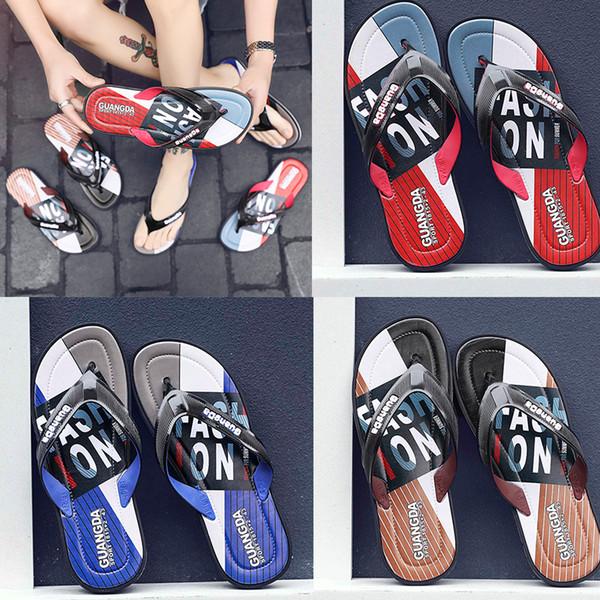 free shipping Leisure Rubber Slide designers Sandal Slippers blue Red black Stripe Design Men Classic men Summer Outdoor beach Flip Flops