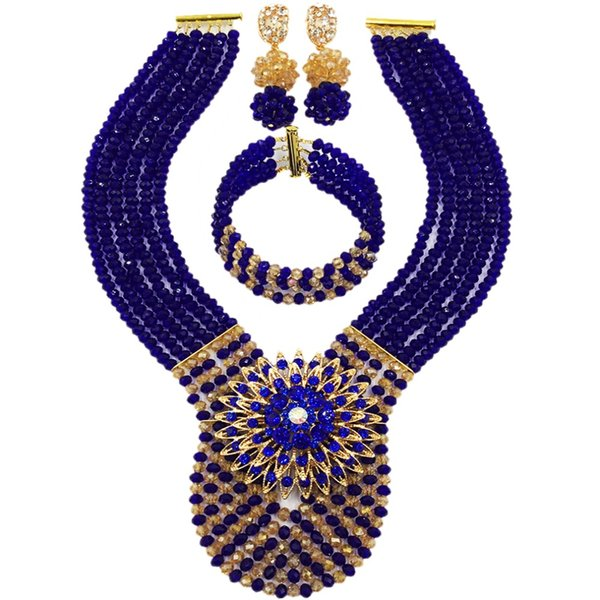 Royal Blue Gold AB African Beads Jewelry Set Crystal Beaded Necklace Nigerian Wedding Pary Jewelry Gifts 6WDK01