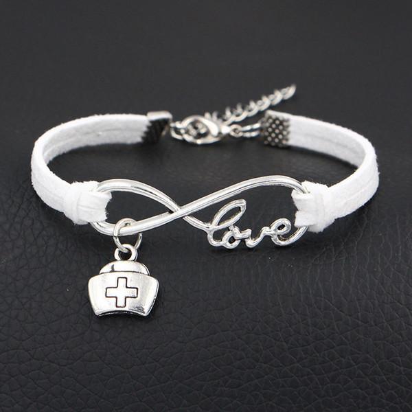 Chaude Infinity Amour Docteur Médecine Boîte De Médecine Infirmière Cap Bracelet Bracelets Tissés À La Main Hommes Femmes Blanc En Cuir Daim Bracelet Bijoux Cadeaux D'anniversaire