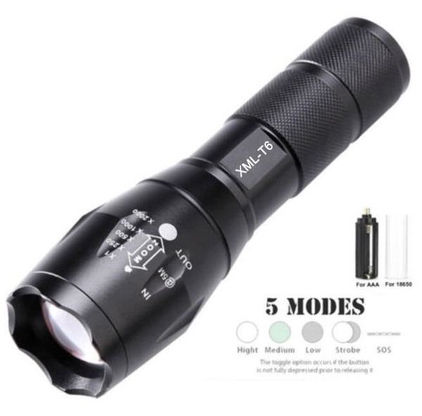 top popular 18650 battery XML T6 cree flashlight included charger gift box super bright zoom flashlights torch outdoor sport led 5 mode mini torch lamp 2021