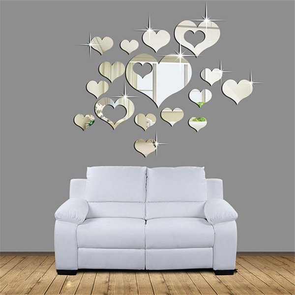 3D Mirror Love Hearts Wall Sticker Decal DIY Wall Stickers for Living Room Modern Style Home Room Art Mural Decor Removable 801