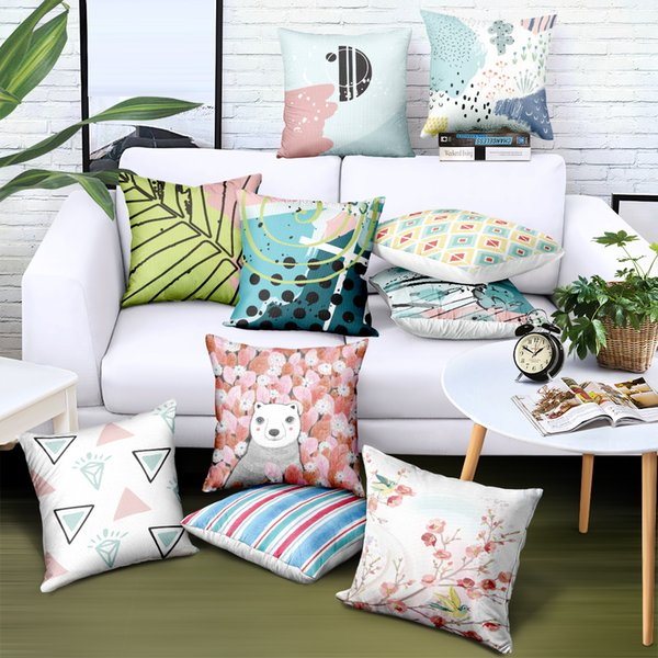 Custom Throw Pillow Cover Velvet Geometric Printing 29 Styles Decorative Pillows Brand Advertising Gifts Sofa Car Chair Seat Cushion Cases