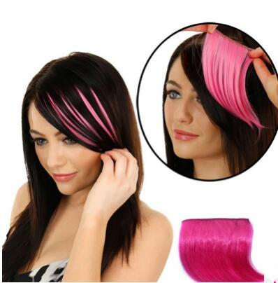 best selling 4pcs Straight Bang Highlights Gradient Color Hair Piece Colorful bangs Seamless Hair Extension New Chic Elegant Hair Weaving