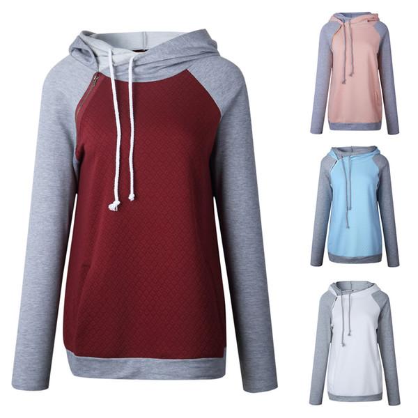 Mulheres Patchwork hoodies manga comprida solta moletom com capuz emendado cores cordão Casual suéter cair roupas