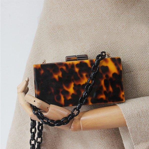 Luxury Amber Acrylic Chain Women's Bag Leopard Print Party Clutch Resin Chain Crossbody Bag Famous Designer Handbags Leather