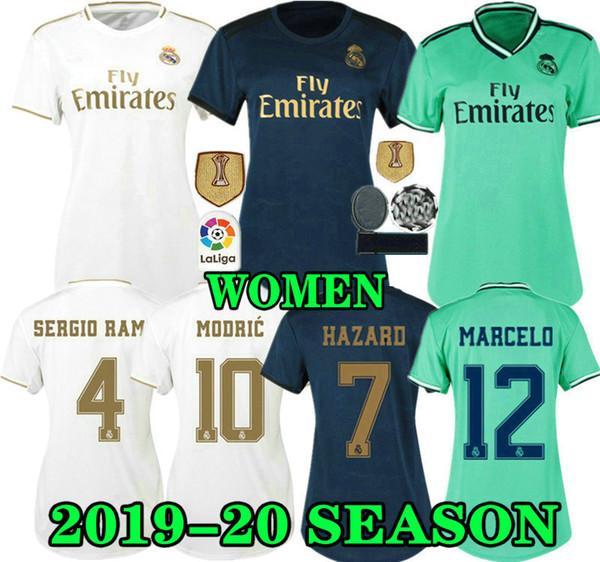 Großhandel GEFAHR 19 20 Frauen Real Madrid Heimtrikot 2019 2020 Dame RONALDO ASENSIO BALE RAMOS ISCO MODRIC Auswärts Drittes Weibliches Fußballtrikot