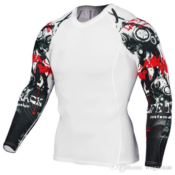 2019 NUEVOS Hombres Camisetas 3D Teen Wolf Jerseys Camisa de manga larga de Fitness Hombres Lycra MMA Crossfit Tshirt Medias Ropa de marca Tee