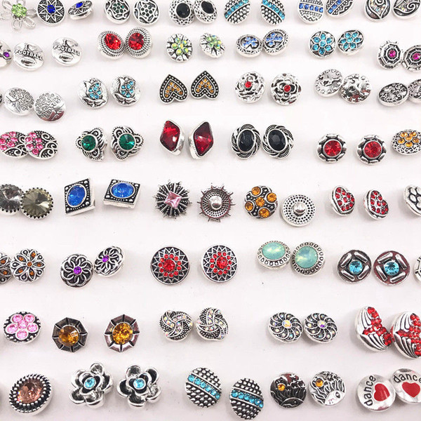 top popular Fashion Rhinestone Metal 12mm Snaps Buttoon Charm For Ginger snaps Jewelry Earring Pendant Send As Pairs 2021