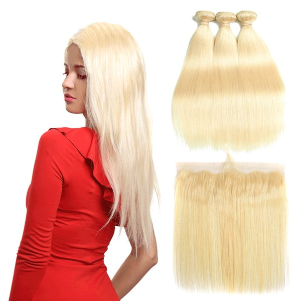 Brazilian Straight 613 Blonde Human Hair Weaves Unprocessed Brazilan Virgin Hair Bundles with Closure Straight Hair Extensions and Frontal