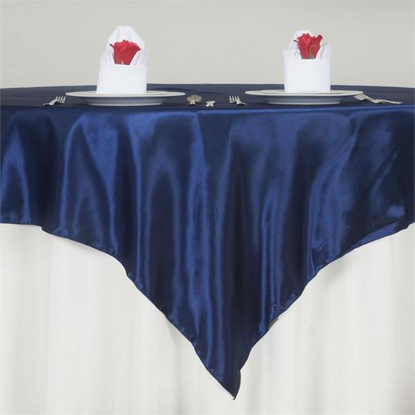 1 PC Pas Cher Carré Satin De Table Superposition De Satin Nappe De Banquet Top Couverture Pour Le Mariage De Vacances Fête Événement Hôtel Décoration