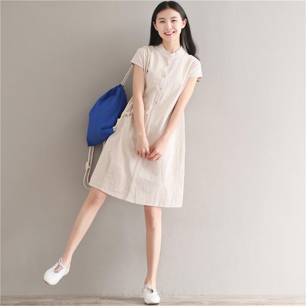 Littérature facile volonté code loisirs temps long fonds manches courtes robe femme en coton Sen