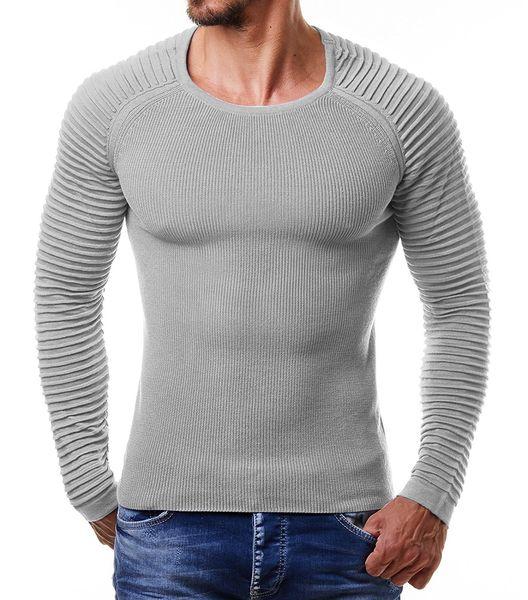 Hombres suéteres de cuello redondo Brazo Rib Diseño plisado Suéteres delgados Hommes Color sólido Ajuste de punto Tops Otoño Invierno Suéter