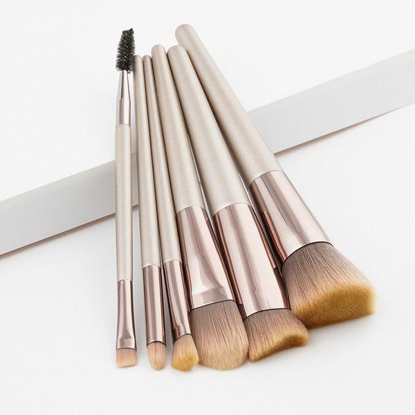 6 Pcs Synthetic Hair Wood Handle Makeup Brushes Foundation Eye Shadow Lip Gloss of Makeup Brushes Cosmetics Makeup Tools