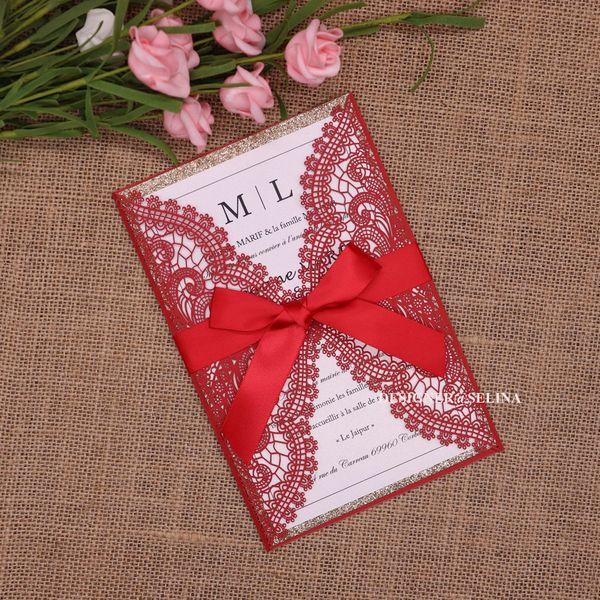 Compre Rose Del Brillo Del Oro Bottom Laser Cut Tarjetas De Las Invitaciones Para La Boda De Compromiso De Bienvenida Al Bebé Del Cumpleaños De