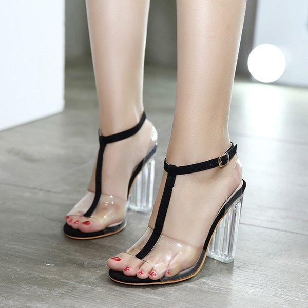 New Summer Women Sandals Transparent Crystal Sexy High Heels Open Toe Fashion Clear Block Heels Gladiator Big Size Ladies Shoes