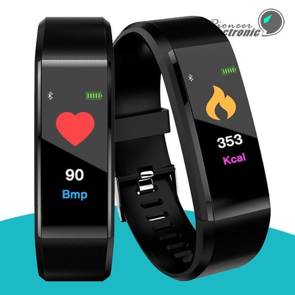Color lcd creen id115 plu mart bracelet fitne tracker pedometer watch band heart rate blood pre ure monitor mart wri tband