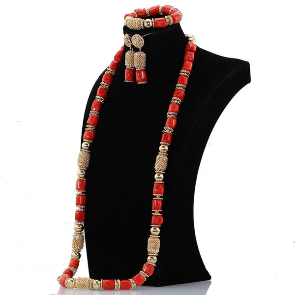 Dubai Gold Beaded Accessory Women 40 inches Coral Beads African Jewelry Fashion Necklace Set Brides Gift ABH595 C18122701