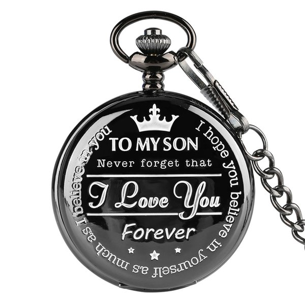 Wholesale unique pocket watches for sale - Group buy Watches quot To MY SON Engraving Word Black Pocket Watch Men Roman Number Watches Unique Quartz Clock Chain Boy Birthday Christmas Gifts