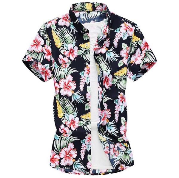 Camicia a maniche lunghe con stampa floreale hawaiiana Costumi da bagno per le vacanze estive in misto cotone