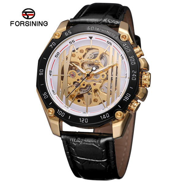 Forsining Golden Bridge Design Movimiento de engranajes dentro del trabajo abierto Steampunk Relojes para hombre Reloj de pulsera mecánico de lujo de la mejor marca SLZe129