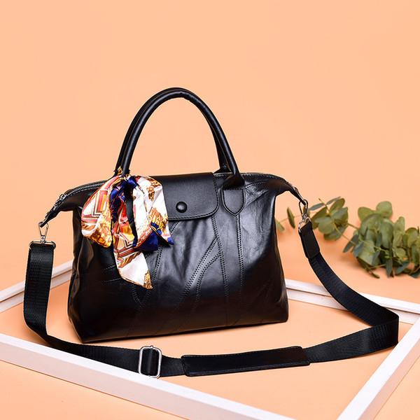 Ana kesesi Femme De Marque Luxe Cuir 2019 Hakiki Deri Kadın Çanta Siyah Omuz Çantaları Bayanlar Kanalları Çanta Bolsa Feminina