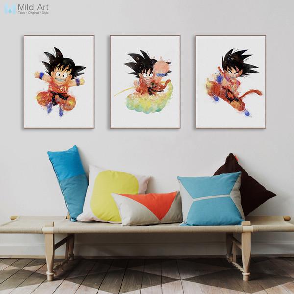 Compre Cuadros De La Pared Acuarela Dibujos Animados Japoneses Anime Dragon Ball Goku Poster Nordic Kids Room Imagen De Arte De Pared Decoración Para