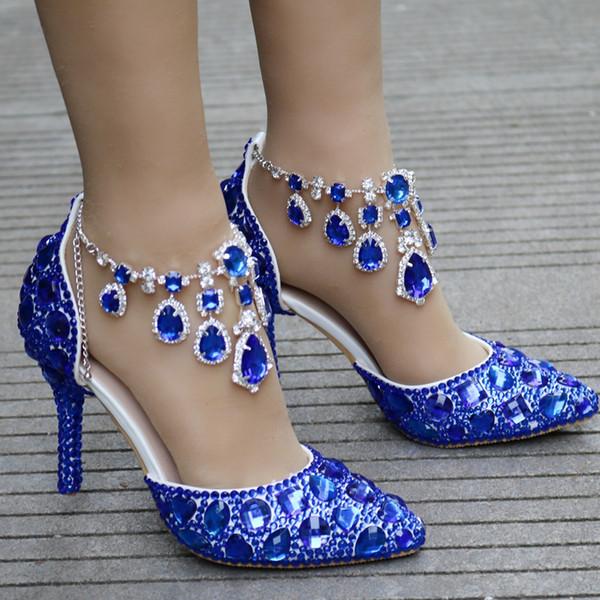 Crystal Queen Women Rhinestone Crystal Wedding Shoes Graduation Party Prom Shoes Nightclub Evening Bridal Sandals High Heel