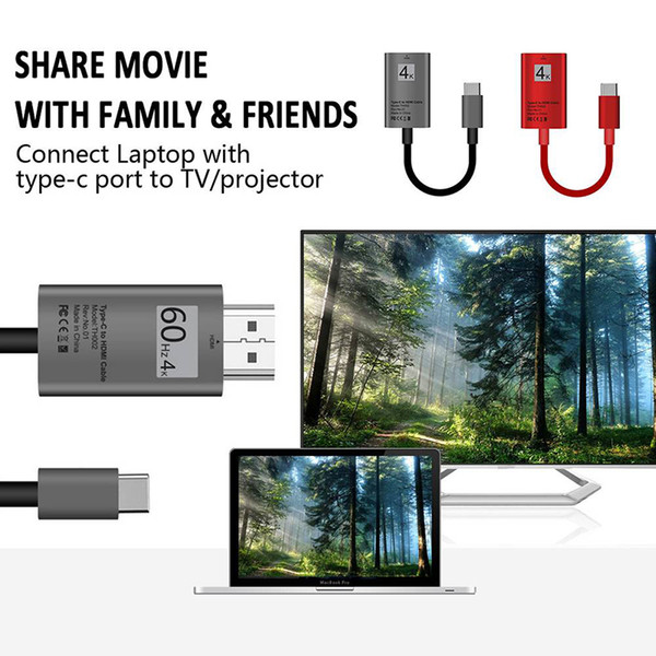 USB-C Type-C to HDMI HDTV Adapter Cable Connect Line 4K For Samsung S9 S8 Note 8 Macbook Pro