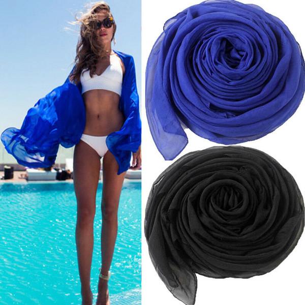 2019 Casual Mulheres Summer Beach Bikini Cover Up Swimsuit Swimwear sólida toalha de praia cobertura leve Longo baratos até 170 centímetros x 70 centímetros
