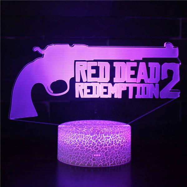Lumière de nuit 3D APEX Red Dead Redemption de feuille acrylique avec base Télécommande 16 Lumière de nuit changeante à 3 motifs