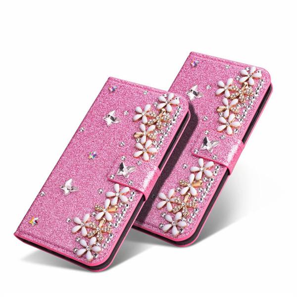 Custodia a portafoglio in pelle fiore di bling di lusso per Apple iPhone XS Max / XR 8/7/6 / 5S Plus Flip Kickstand Bumper per Galaxy S9 S9 + S8 S8 + Donne Ragazze