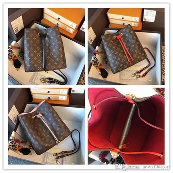 LoVuitto Monograms Neonoe Neo Noe canvas Leather rosa rosé poudre Noir Brown Noir shoulder bag Size:26-22-27cm