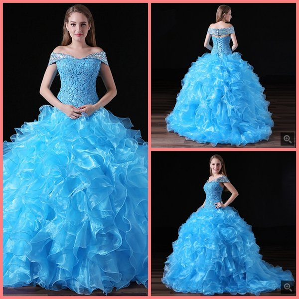 2019 free shipping blue ball gown organza ruffled crystals prom dress quinceanera gowns cap sleeve princess corset sweet 16 prom gowns