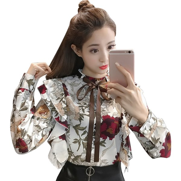 2018 new korean fashion office work blouse loose lace up ruffles floral chiffon womens tops and blouses long sleeve shirt