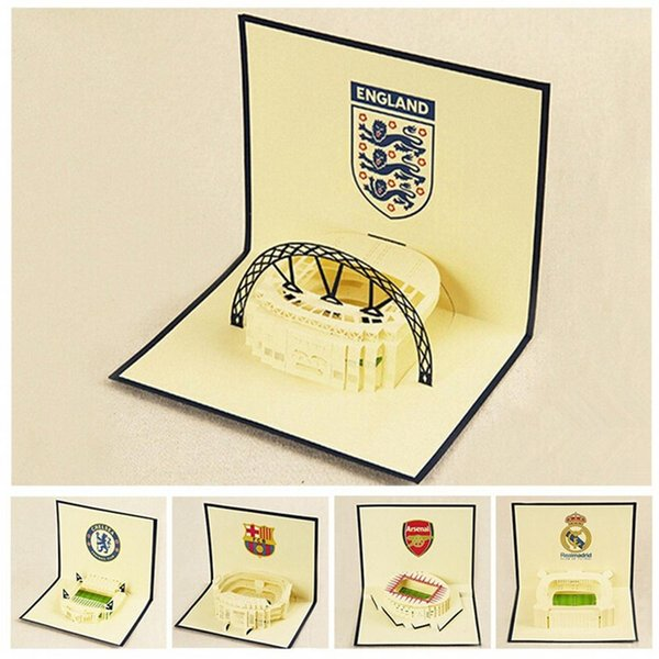 Wholesale-(7 pieces/lot)3D Handmade Greeting Cards with Envelop Paper Cut Pop Up Football Club Field Birthday Gift Card Combination Sale